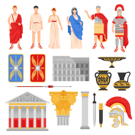 Illustration pour Ancient rome empire set of isolated flat images with pantheons legionnaire outfit weapons and human characters vector illustration - image libre de droit