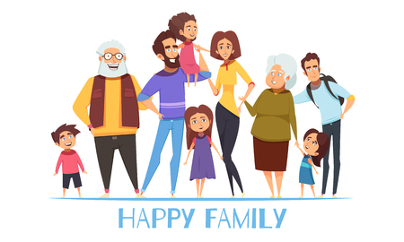 Illustration for Portrait of happy family with grandparents, mom and dad, kids, uncle on white background vector illustration - Royalty Free Image