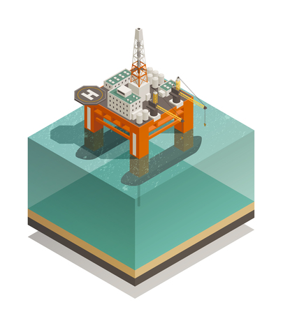 Oil production industry isometric composition with offshore platform facilities for well drilling extraction and processing vector illustration