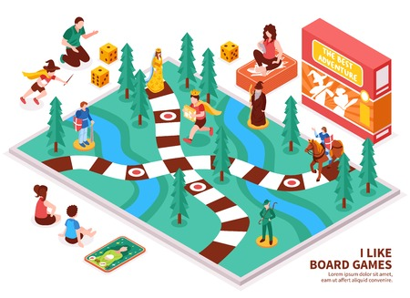 Illustration pour Board game isometric composition with people including kids and adults, desktop field, figures, cards, dice vector illustration - image libre de droit