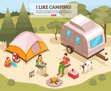 Illustration pour Family summer camping site isometric design - image libre de droit