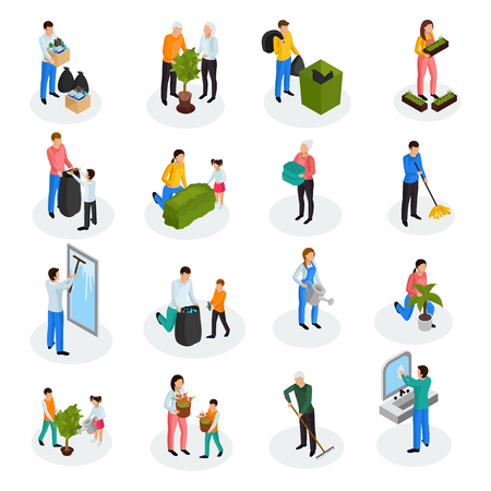 Ilustración de Spring cleaning works isometric icons collection with floor mopping seedling planting garbage collection window washing isolated vector illustration  - Imagen libre de derechos