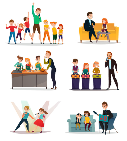 Illustration for Kids TV show set with sport art and quiz symbols flat isolated vector illustration - Royalty Free Image