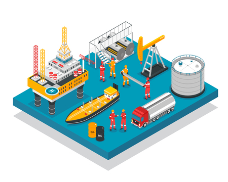 Ilustración de Oil gas industry jack-up drilling rig offshore platform facility isometric composition with tanker vessel vector illustration - Imagen libre de derechos