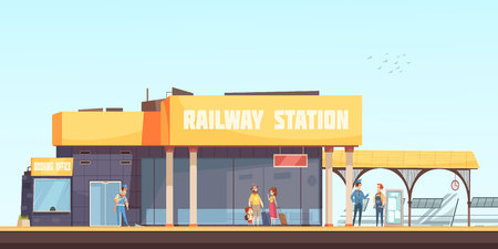 Illustration pour Railway station background booking office cleaner inspector and passengers waiting train on platform flat vector illustration - image libre de droit