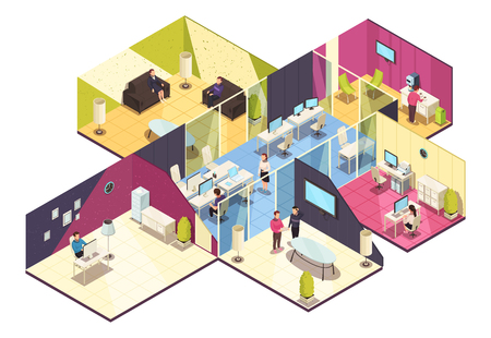 Ilustración de Business center one floor interior isometric composition with offices computer conference and employee break rooms vector illustration - Imagen libre de derechos