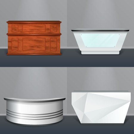 Modern reception desks design 4 realistic models with wooden rectangular plastic circular and abstractly shaped vector illustration