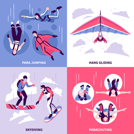 Ilustración de Skydiving concept icons set with hang gliding symbols flat isolated vector illustration - Imagen libre de derechos