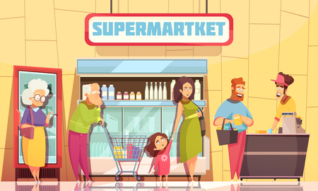 Illustration pour Supermarket shoppers queue characters poster with young family and old people waiting at cashier desk vector illustration  - image libre de droit