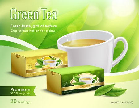 Illustration pour Green tea advertising composition on blurred background with carton packaging, leaves, cup with drink realistic vector illustration  - image libre de droit