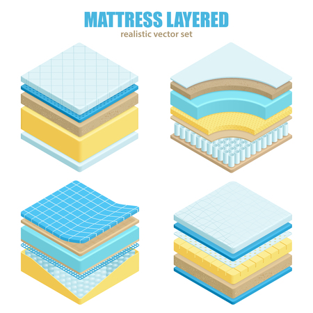 Illustration for Orthopedic set of different bed mattress layers material and structure for correct spine sleeping position realistic vector illustration - Royalty Free Image