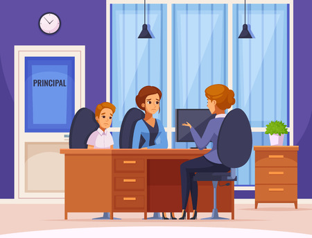 Illustration pour Children parents parenthood cartoon composition with headmaster office interior and human character of mother and child vector illustration - image libre de droit