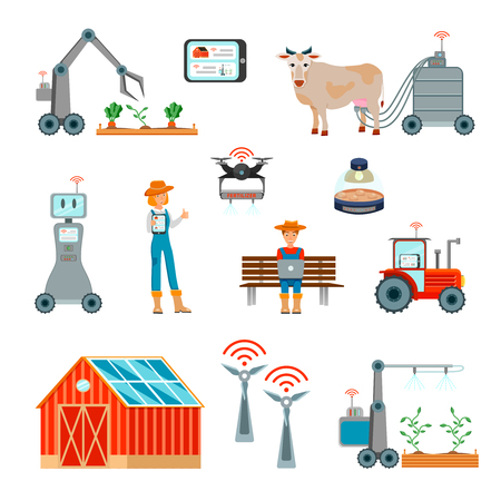 Illustration pour Smart farming flat set with automatic milking harvesting robots wind power plant operated with wireless Internet isolated icons vector illustration - image libre de droit
