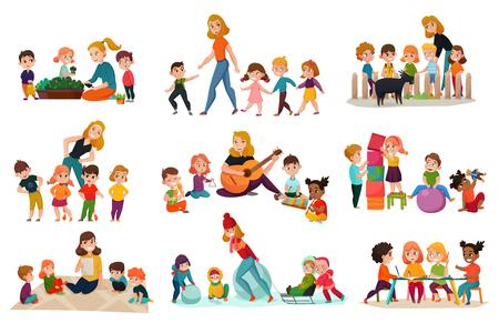 Illustration pour Kindergarten icons set with playing children symbols flat isolated vector illustration - image libre de droit