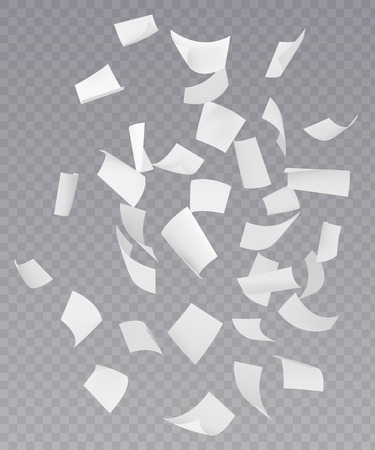 Ilustración de Chaotic falling flying empty white paper sheets with curved corners on transparent background realistic vector illustration - Imagen libre de derechos