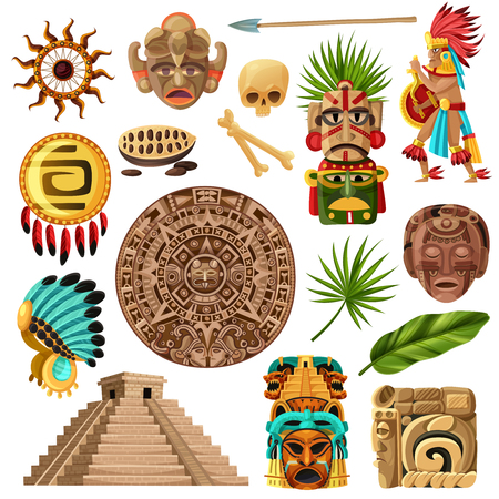 Illustration pour Colorful mexican decorative icons et with  with symbols of traditional  mayan culture history and religion isolated cartoon vector illustration - image libre de droit