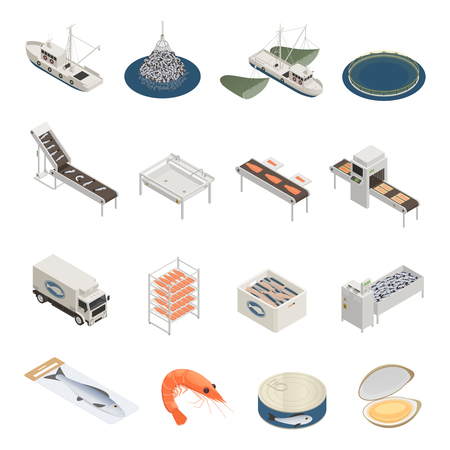 Illustration for Fish industry seafood production isometric icons with pieces of industrial equipment vessels and ready marine products vector illustration - Royalty Free Image
