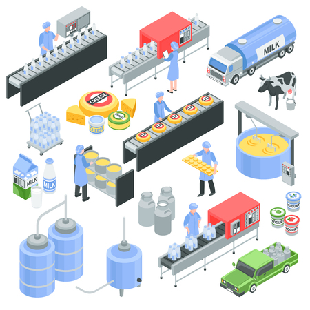 Ilustración de Dairy factory isometric icons with pouring milk in bottle, cheese production, transportation for delivery isolated vector illustration - Imagen libre de derechos