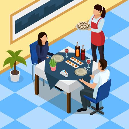 Ilustración de Catering isometric background with couple at restaurant table, waitress with snacks on tray vector illustration - Imagen libre de derechos