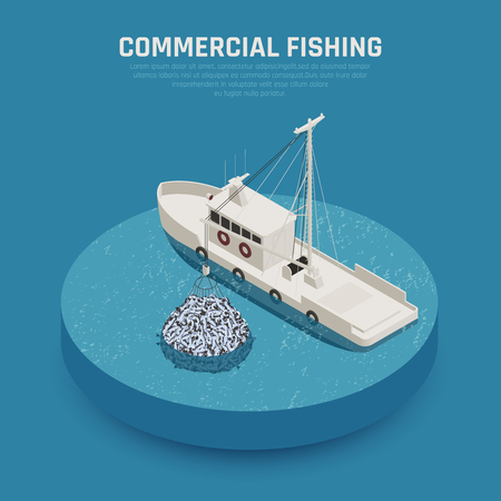 Illustration pour Fish industry seafood production isometric composition with image of commercial fishing boat loading stuffed fishing net vector illustration - image libre de droit