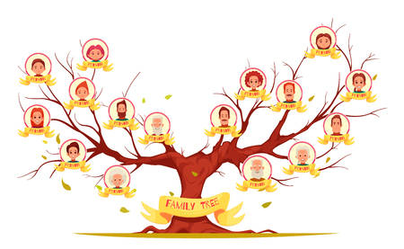 Illustration pour Family tree with pictures of relatives in round frames - image libre de droit