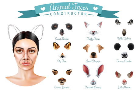 Isolated cute animal faces constructor icon set with sweet koala fluffy kitty wild zebra sly fox good doggie and others muzzles vector illustration