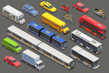 Ilustración de Public city transport isometric icons collection with isolated images of private cars bikes and municipal transport vector illustration - Imagen libre de derechos
