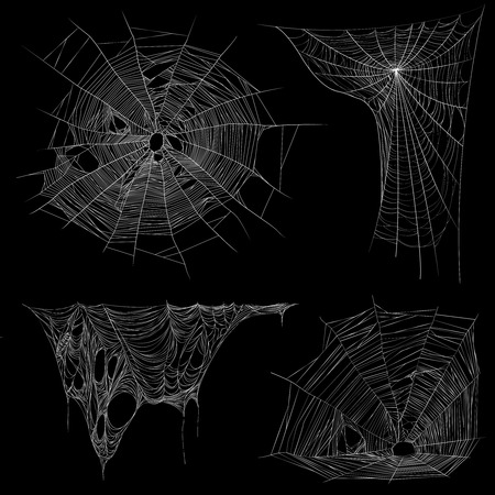 Illustration pour Spider web images collection on black background - image libre de droit