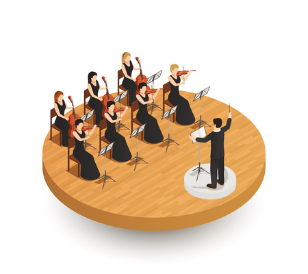 Illustration pour Orchestra isometric composition - image libre de droit