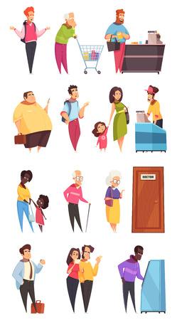 Ilustración de People characters in queues - Imagen libre de derechos