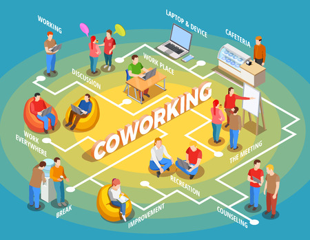 Illustration pour Coworking people  illustration - image libre de droit