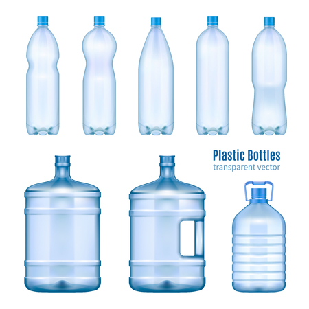 Ilustración de Plastic water bottles realistic set of large containers for cooler and small tare for retail sale isolated vector illustration  - Imagen libre de derechos