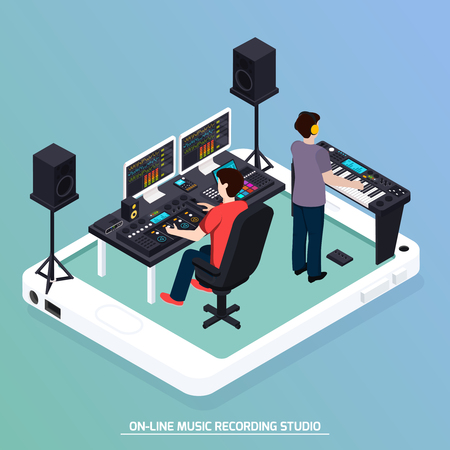 Illustration pour Music recording studio equipment isometric composition with two human characters recording music with pro audio devices vector illustration - image libre de droit