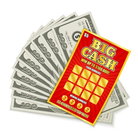 Illustration for Scratch lottery card big cash game win realistic composition with hundred dollars banknotes prize money vector illustration  - Royalty Free Image