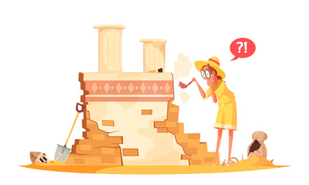 Illustration pour Scientist in hat with brush during archaeological works with ruin of ancient architecture cartoon vector illustration - image libre de droit