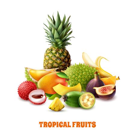 Illustration pour Composition from colorful exotic tropical fruits on white background 3d vector illustration  - image libre de droit