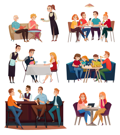 Illustration for Restaurant and pub visitors set with food and drinks symbols flat isolated vector illustration - Royalty Free Image