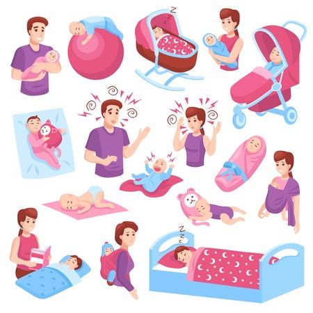 Ilustración de Sleeping babies toddlers kids children in crib stroller parents arms pink blue icons collection isolated vector illustration  - Imagen libre de derechos