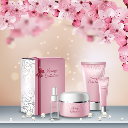 Illustration for Sakura colored poster or advertising flyer with pink bottles of cosmetics for beauty procedures vector illustration - Royalty Free Image