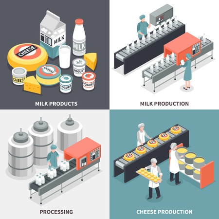 Process of milk and cheese production and factory workers 2x2 design concept isolated on colorful background 3d isometric vector illustration
