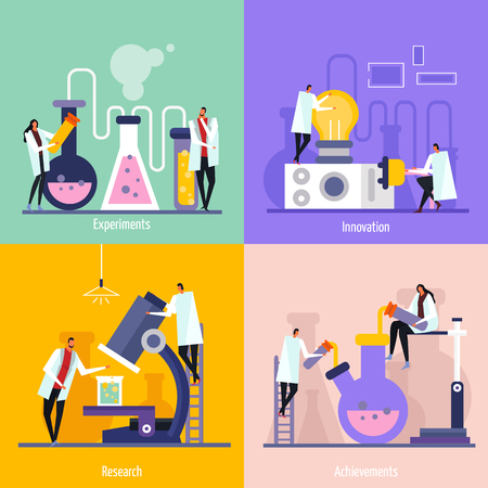 Ilustración de Science lab flat design concept with experiments, innovation, research and achievement isolated vector illustration - Imagen libre de derechos