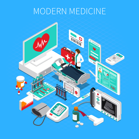 Ilustración de Modern medicine isometric composition on blue background with doctor and patient, medical devices and drugs vector illustration - Imagen libre de derechos