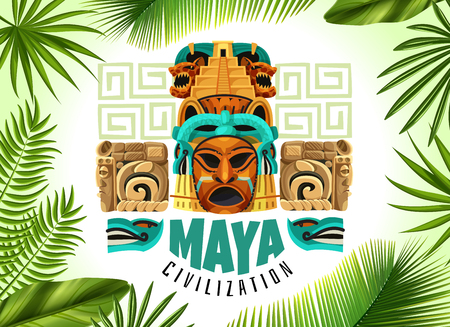 Maya civilization horizontal poster with mayan mask and fragments of ancient calendar cartoon vector illustration