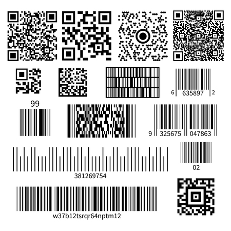 Illustration pour Universal product code barcode types realistic set with two dimensional matrix symbols and numbers system vector illustration - image libre de droit