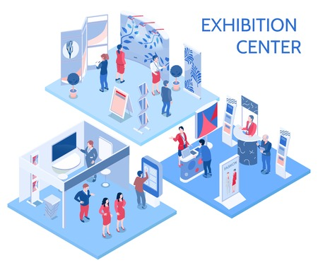 Illustration pour Exhibition center isometric compositions with people looking at expo stands  in gallery hall and communicating with staff vector illustration - image libre de droit
