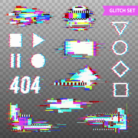 Illustration pour Set of simple geometric forms and digital elements in distorted glitch style on transparent background vector illustration - image libre de droit