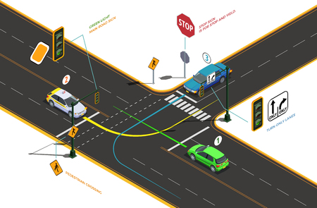 Illustration pour Driving school isometric composition with conceptual pictograms colourful arrows text captions and cars on road intersection vector illustration - image libre de droit