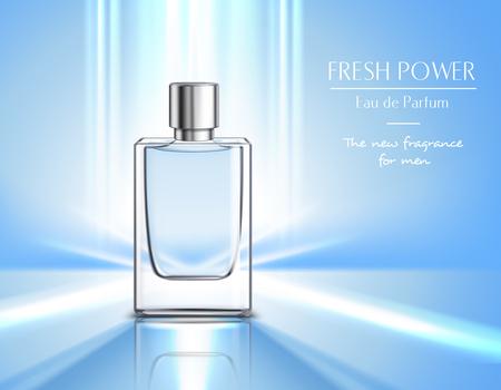 Illustration pour New fragrance for men perfume poster with vial of eau de parfum  on blue background and fresh power headline realistic vector illustration - image libre de droit