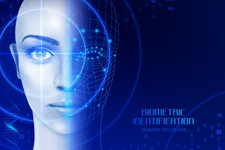 Illustration pour Biometric identification, scanners in work process for face and retina recognition on dark background vector illustration - image libre de droit