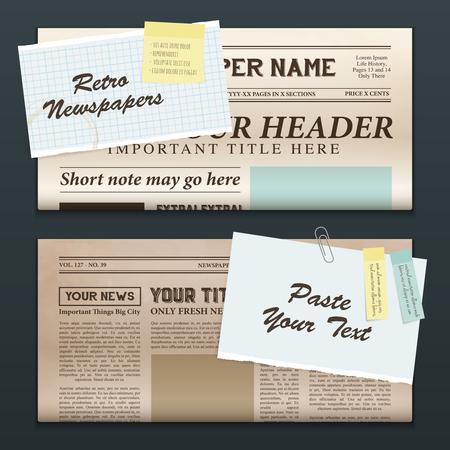 Illustration pour Vintage newspapers templates 2 top half front pages realistic retro horizontal banners set isolated vector illustration - image libre de droit